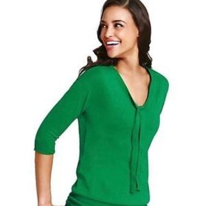Cabi green tie front sweater, XL